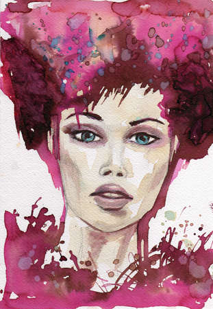 painted face:  original watercolor illustration of a young and beautiful woman Stock Photo