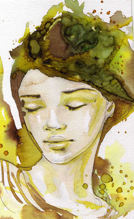 intense: watercolor illustration of a portrait of a young, beautiful woman.