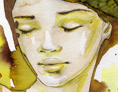 intense:  watercolor illustration of a portrait of a young, beautiful woman. Stock Photo