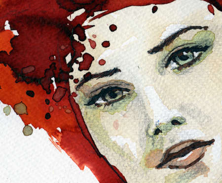 Stock Photo:Watercolor illustration of a woman