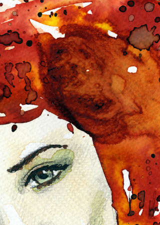 face painting: Stock Photo: Watercolor illustration of a woman