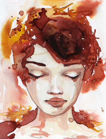 abstract portrait: original watercolor illustration of a young and beautiful woman