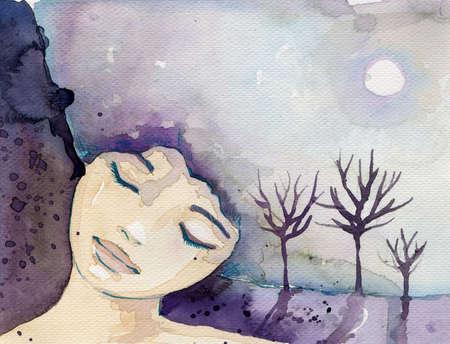 sogno: illustrazione di un favoloso ritratto astratto di una ragazza Archivio Fotografico