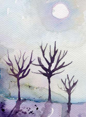 fabulous illustration of a night landscape Stock Illustration - 17573708