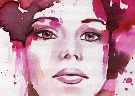 original watercolor illustration of a young and beautiful woman