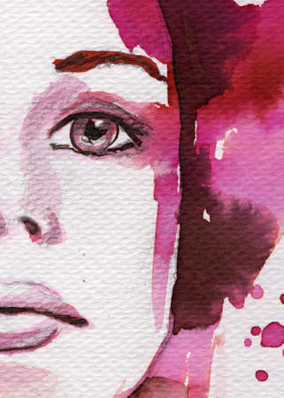 painted face: original watercolor illustration of a young and beautiful woman