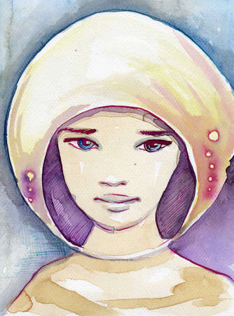 blissful: fabulous illustration of an abstract portrait of a girl. Stock Photo