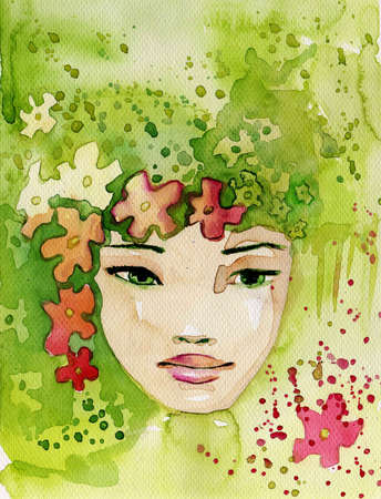 ilustraci�n fabulosa de un retrato abstracto de una ni�a.