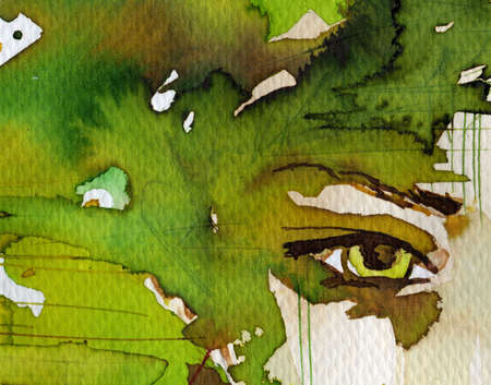 painted face: fabulous illustration of an abstract portrait of a girl. Stock Photo