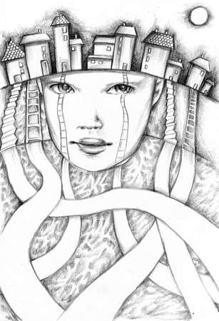 ilustraci�n abstracta hecha l�pices