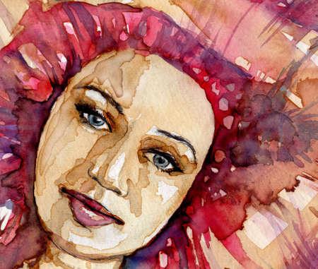 Aquarelle illustration pour dépeindre le portrait d'une jeune fille Banque d'images - 19000854