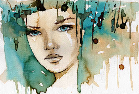 watercolor illustration showing the face of a pretty, young girl in a winter color tones  illustration