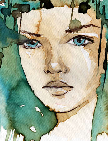abstract portrait: watercolor illustration showing the face of a pretty, young girl in a winter color tones