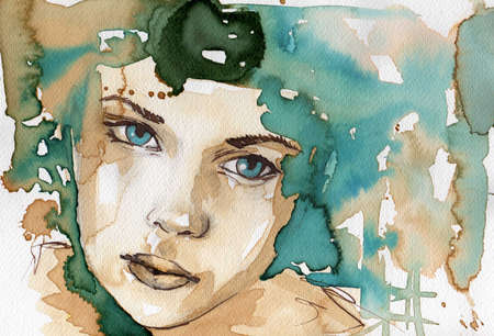 sensitive skin: watercolor illustration showing the face of a pretty, young girl in a winter color tones