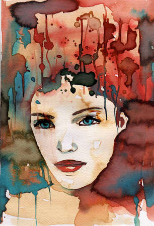depict: watercolor illustration to depict the portrait of a young girls fancy.