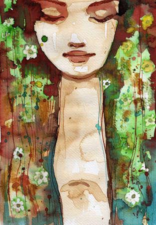 ilustraci�n acuarela para pintar el retrato de la fantas�a de una ni�a Foto de archivo