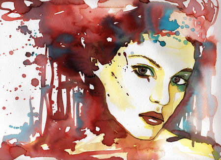 painted face: watercolor illustration to depict the portrait of a young girls fancy.