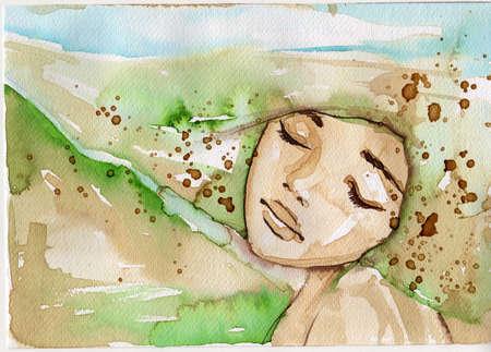 Portrait d'une femme aux yeux verts Banque d'images - 19124804