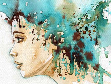 젊고 아름다운 여자의 모습을 묘사 한 그림 스톡 콘텐츠