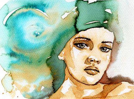caritas pintadas: ilustración que representa la figura de una mujer joven y hermosa Foto de archivo