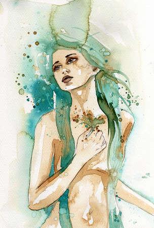 caritas pintadas: ilustraci?n que representa la figura de una mujer joven y hermosa