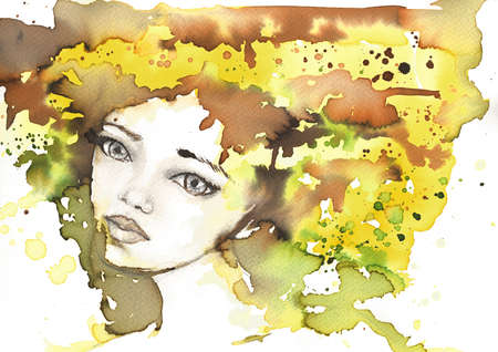 blissful: fabulous illustration of an abstract portrait of a girl   Stock Photo