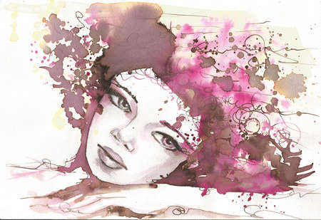 watercolor portrait of a woman   photo