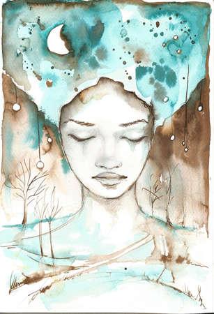 fabulosa ilustraci�n de un retrato abstracto de una muchacha
