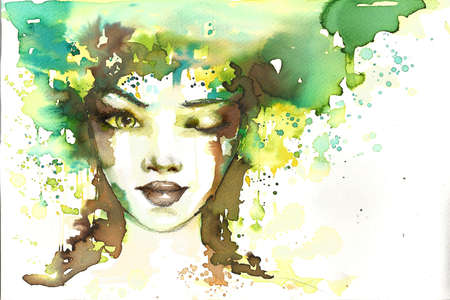 celadon: fabulous illustration of an abstract portrait of a girl   Stock Photo