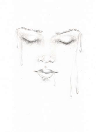 pencil sketch, portrait of a woman photo