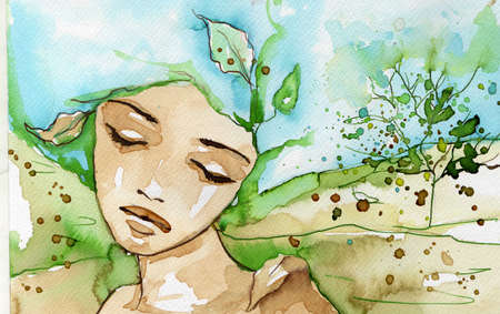 watercolor illustration, depicting a portrait of a beautiful young woman  illustration
