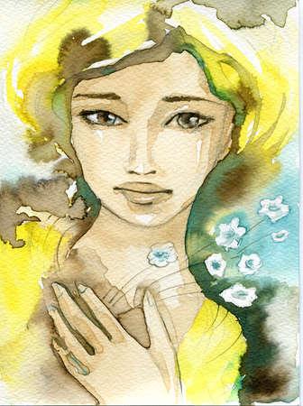 human skin texture: fancy watercolor illustration, portrait woman