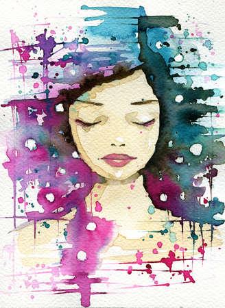 fancy watercolor illustration, portrait woman illustration