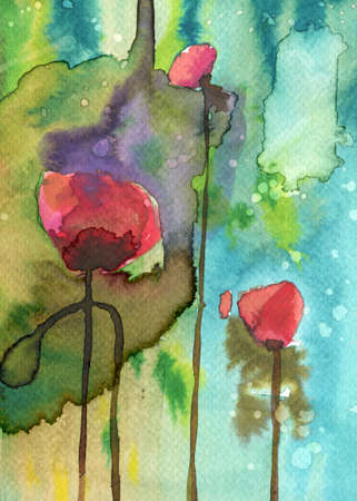 murals: poppies, red, green,
