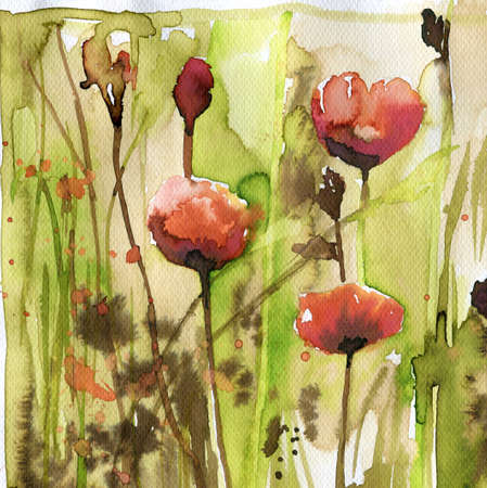 murals: poppies, red,