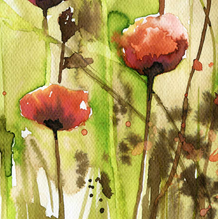 murals: poppies, red