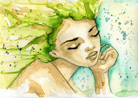 abstract watercolor illustration depicting a portrait of a woman Stok Fotoğraf