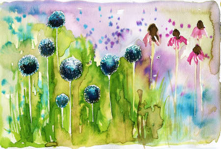 thistle plant: watercolor illustration depicting spring flowers in the meadow