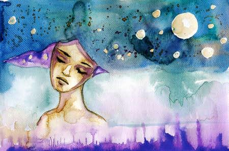 女性の肖像を描いた抽象的な水彩イラスト