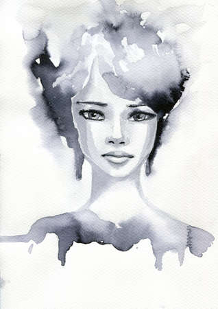 article: abstract watercolor illustration depicting a portrait of a woman Stock Photo