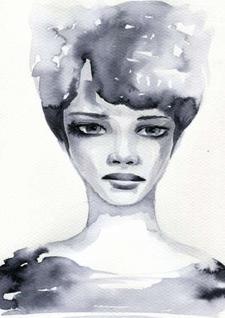 black woman face: abstract watercolor illustration depicting a portrait of a woman Stock Photo