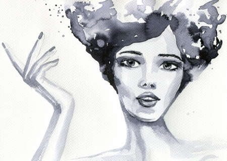 abstract portrait: abstract watercolor illustration depicting a portrait of a woman Stock Photo