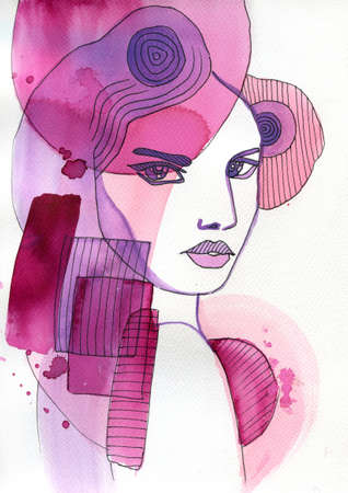 pretty eyes: abstract watercolor illustration depicting a portrait of a woman Stock Photo