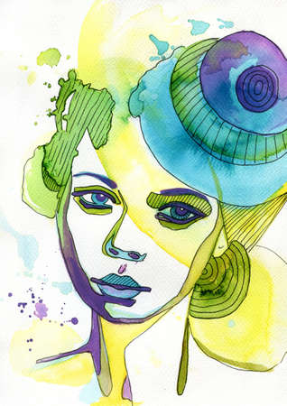 interesting: abstract watercolor illustration depicting a portrait of a woman Stock Photo