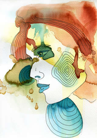 sensitive: abstract watercolor illustration depicting a portrait of a woman Stock Photo