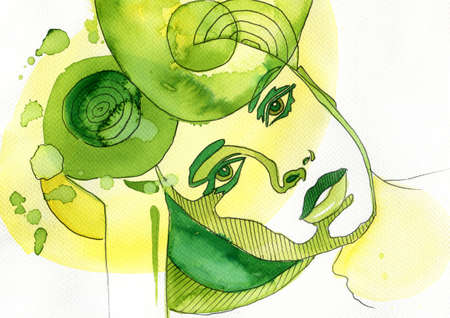 abstract watercolor illustration depicting a portrait of a woman Stock Photo