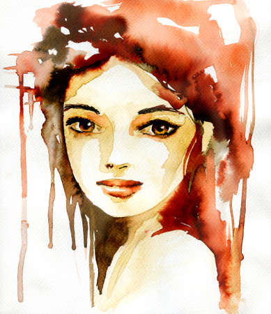 red hair: Abstract watercolor illustration depicting a portrait of a woman.