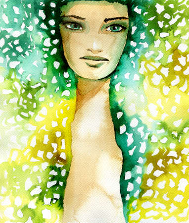abstract portrait: Abstract watercolor illustration depicting a portrait of a woman.