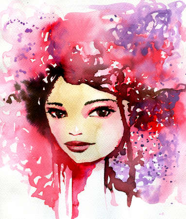 thoughtful: Abstract watercolor illustration depicting a portrait of a woman.