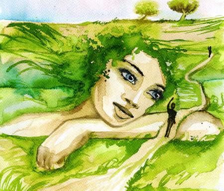 여자의 초상화를 묘사 한 추상 수채화 그림.